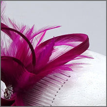 Load image into Gallery viewer, Pretty Magenta Occasion Fascinator on Comb Slide