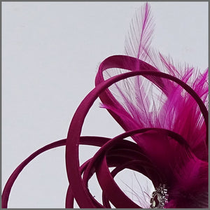 Pretty Magenta Wedding Guest Fascinator with Feathers