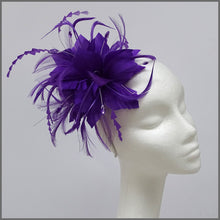 Load image into Gallery viewer, Purple Feather Flower Fascinator for Wedding Guest