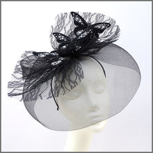 Load image into Gallery viewer, Quirky Black Butterfly Crinoline Disc Fascinator with Feathers & Lace