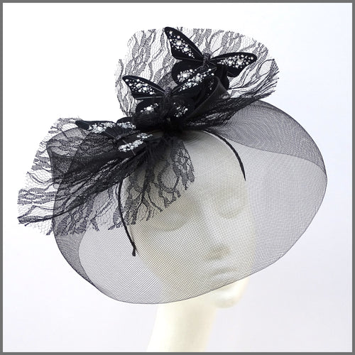 Quirky Black Butterfly Crinoline Disc Fascinator with Feathers & Lace