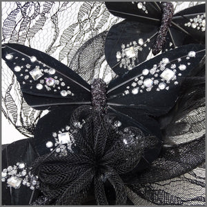 Quirky Black Crinoline Disc Fascinator with Diamanté Butterfly's