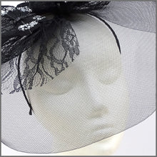 Load image into Gallery viewer, Quirky Black Butterfly Crinoline Hatinator with Feathers & Lace