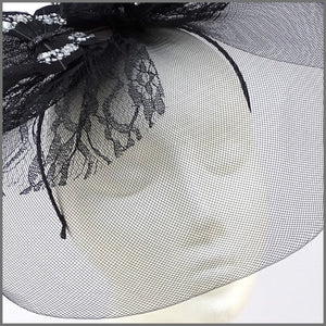 Quirky Black Butterfly Crinoline Hatinator with Feathers & Lace