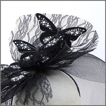 Load image into Gallery viewer, Quirky Black Butterfly Crinoline Disc Fascinator for Formal Event