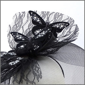 Quirky Black Butterfly Crinoline Disc Fascinator for Formal Event