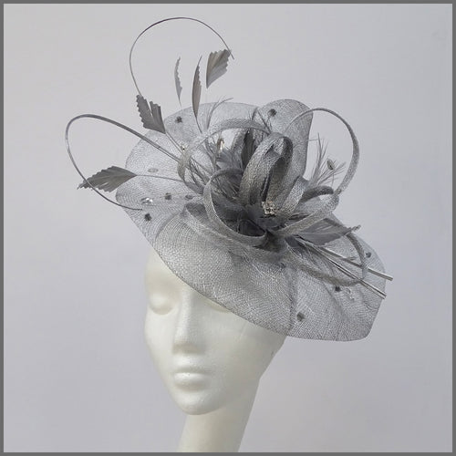 Formal Race Day Disc Fascinator in Metallic Silver