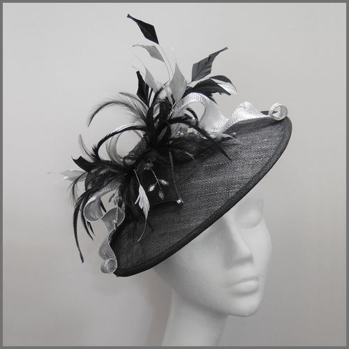 Race Day Feather Hatinator in Black & Silver