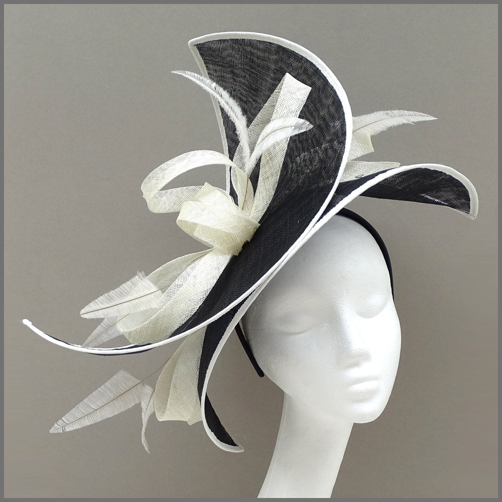 Ladies Day Double Layered Hatinator in Black & Ivory