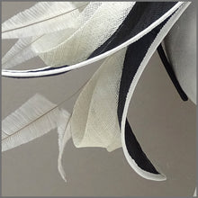 Load image into Gallery viewer, Unique Double Layered Disc Fascinator in Black & Ivory