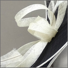 Load image into Gallery viewer, Formal Event Double Layered Disc Fascinator in Black & Ivory