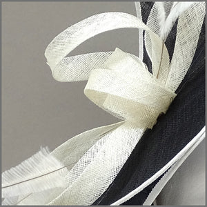 Formal Event Double Layered Disc Fascinator in Black & Ivory
