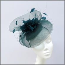 Load image into Gallery viewer, Racing Green Crinoline Feather Fascinator Hat for Special Occasion