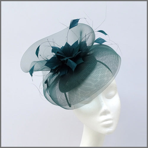 Racing Green Crinoline Feather Fascinator Hat for Special Occasion