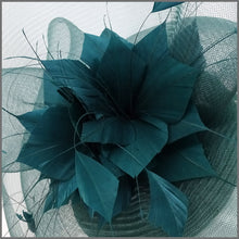 Load image into Gallery viewer, Racing Green Crinoline Feather Flower Fascinator for Race Day