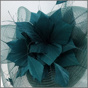 Racing Green Crinoline Feather Flower Fascinator for Race Day