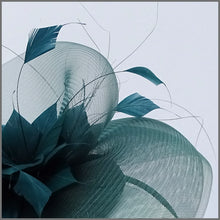 Load image into Gallery viewer, Racing Green Crinoline Feather Hatinator for Wedding