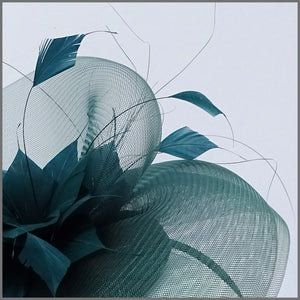 Racing Green Crinoline Feather Hatinator for Wedding