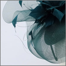 Load image into Gallery viewer, Racing Green Crinoline Feather Headpiece for Race Day