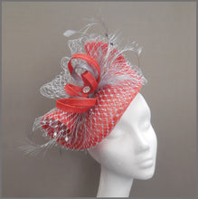 Load image into Gallery viewer, Red & Silver Sinamay Race Day Fascinator with Netting