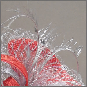 Red & Silver Sinamay Race Day Fascinator with Netting