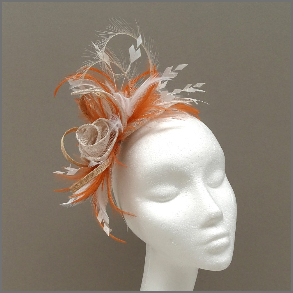Rose Fascinator Headpiece in Orange, Oyster & Ivory