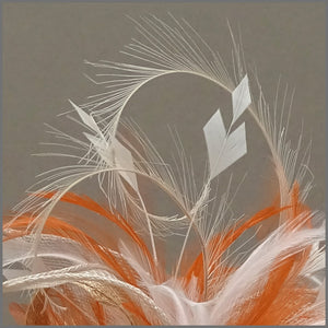 Rose Feather Fascinator in Orange, Oyster & Ivory