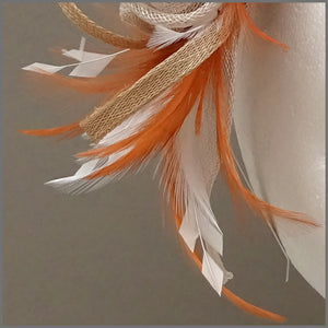 Wedding Guest Fascinator Headpiece in Orange, Oyster & Ivory
