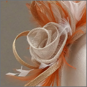 Special Occasion Fascinator Headpiece in Orange, Oyster & Ivory