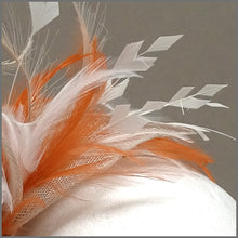 Load image into Gallery viewer, Rose Fascinator Headband in Orange, Oyster & Ivory