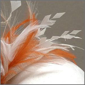 Rose Fascinator Headband in Orange, Oyster & Ivory