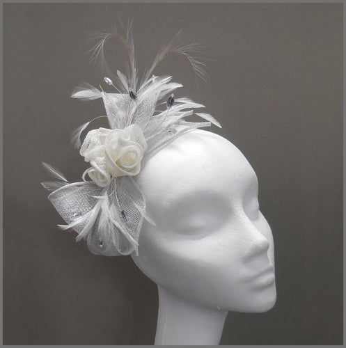 Rose Feather Headpiece in Silver Grey & White