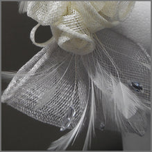 Load image into Gallery viewer, Rose Feather Headpiece in Silver Grey & White