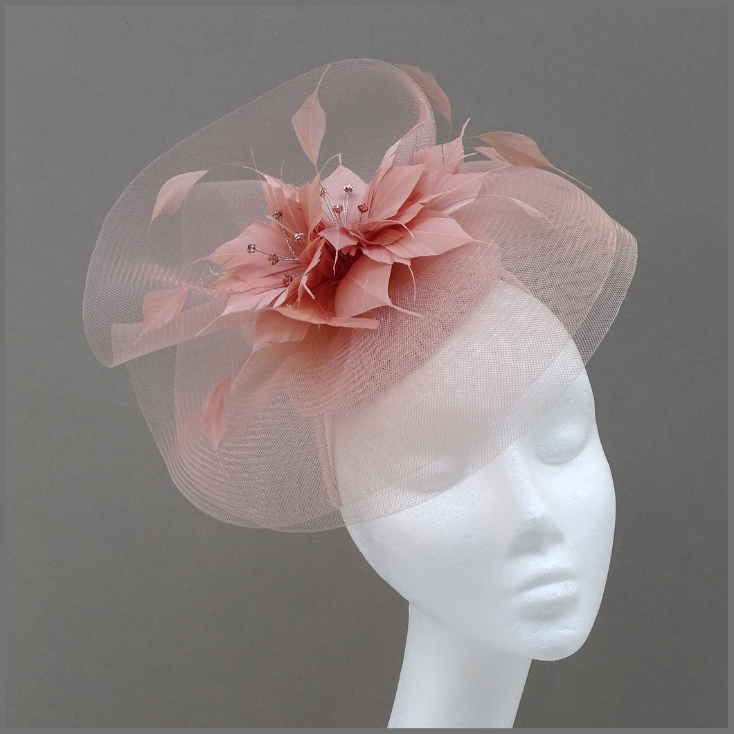 Rose Gold Crinoline Feather Flower Disc Fascinator for Special Occasion
