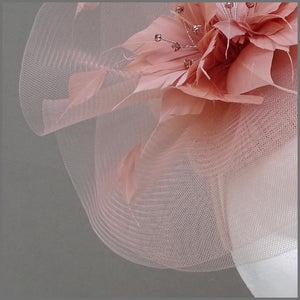Rose Gold Crinoline Race Day Hatinator Headpiece