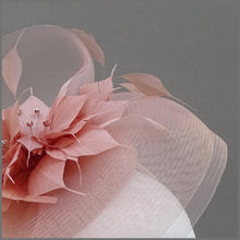 Load image into Gallery viewer, Rose Gold Crinoline Feather Flower Disc Fascinator on Headband