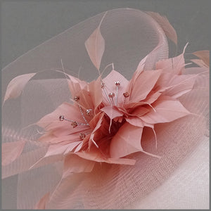 Rose Gold Crinoline Feather Flower Disc Fascinator with Diamanté