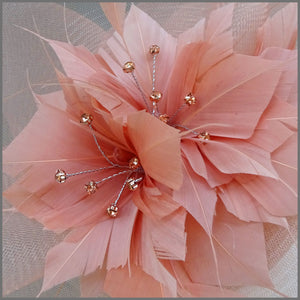 Rose Gold Crinoline Feather Flower Hatinator for Race Day