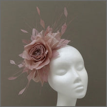 Load image into Gallery viewer, Rose Occasion Fascinator Headband in Nude Pink