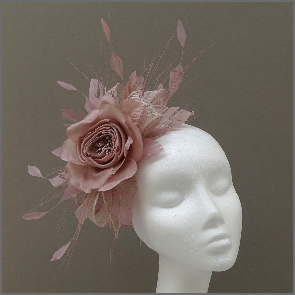 Rose Occasion Fascinator Headband in Nude Pink