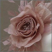 Load image into Gallery viewer, Floral Occasion Fascinator Headband in Nude Pink