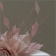 Load image into Gallery viewer, Feather Occasion Fascinator Headband in Nude Pink