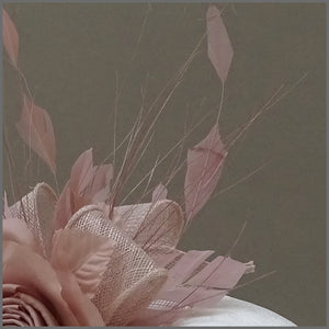 Feather Occasion Fascinator Headband in Nude Pink