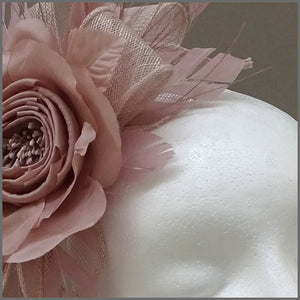 Floral Occasion Fascinator Headband in Nude Pink