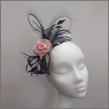 Load image into Gallery viewer, Rose Occasion Fascinator in Navy Blue & Pink