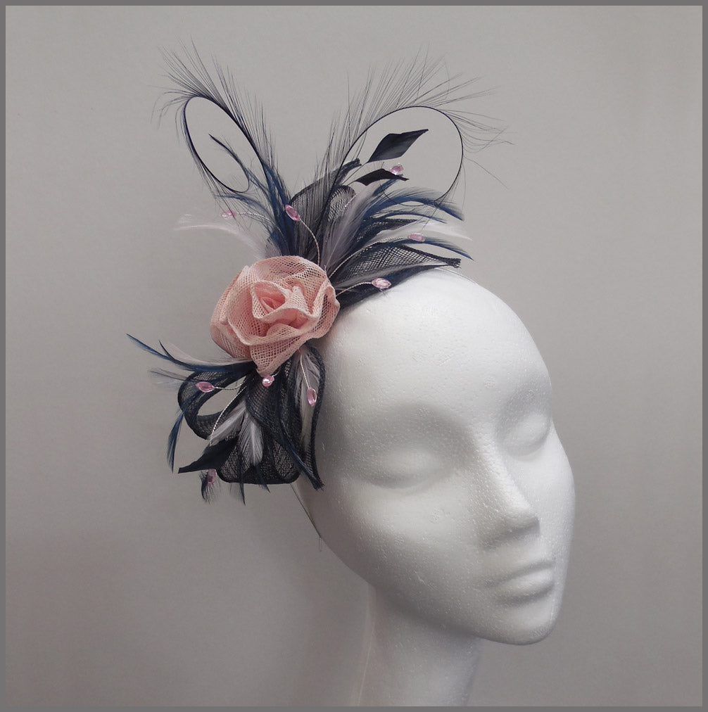 Rose Occasion Fascinator in Navy Blue & Pink