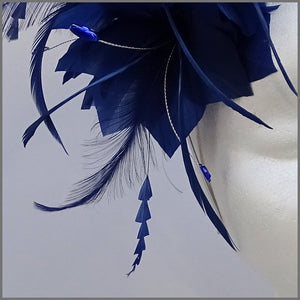 Royal Blue Flower Feather Formal Event Headpiece