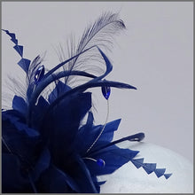 Load image into Gallery viewer, Royal Blue Flower Feather Formal Event Headpiece