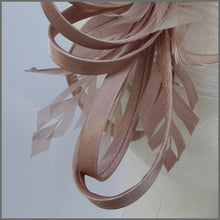 Load image into Gallery viewer, Satin Blush/Nude Looped Special Occasion Fascinator