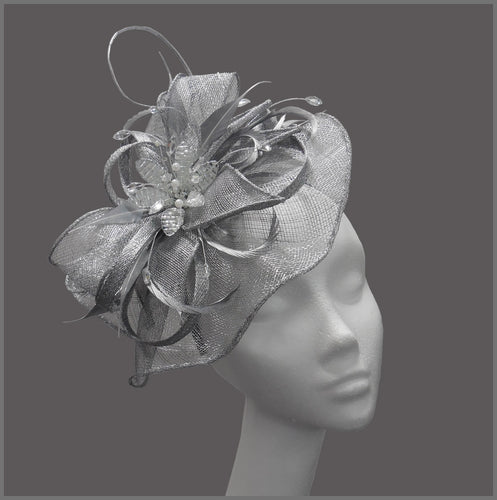 Silver Hatinator with Crystal Flower for Wedding